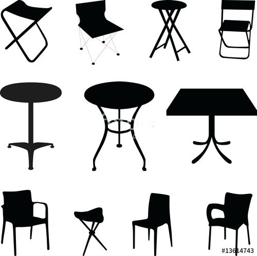 500x499 Table Silhouette Chair And Table Silhouette Vector Silhouette