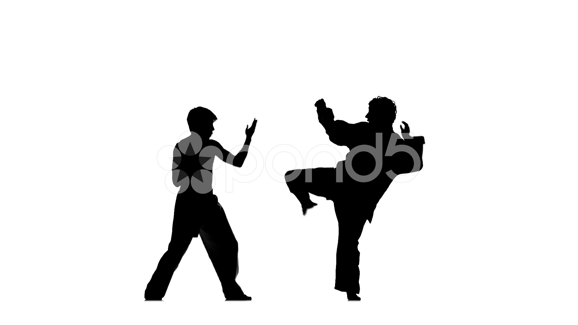 1920x1080 Sparrynh Taekwondo On A White Background, Blows From Each Other