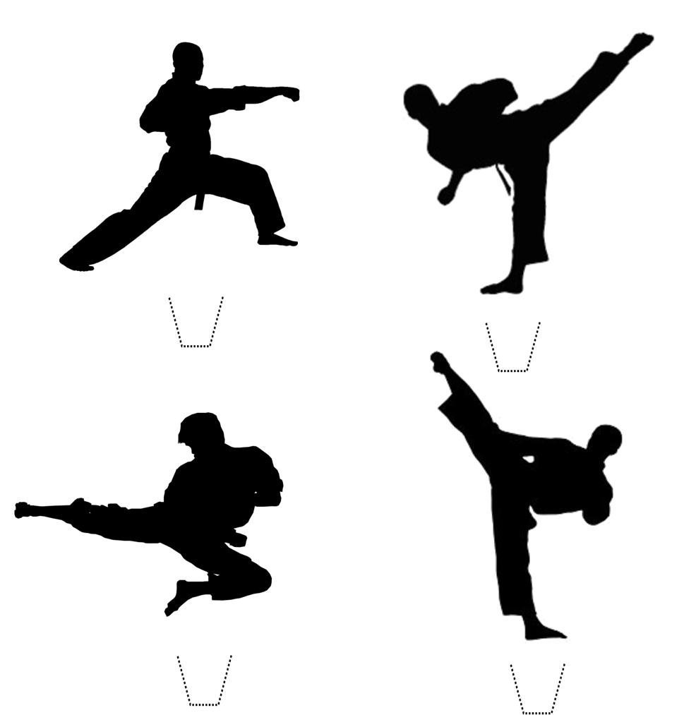 969x1013 12 X Novelty Karate Taekwondo Martial Arts Silhouette Mix Edible