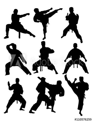 383x500 Taekwondo And Karate, Art Vector Silhouettes Design