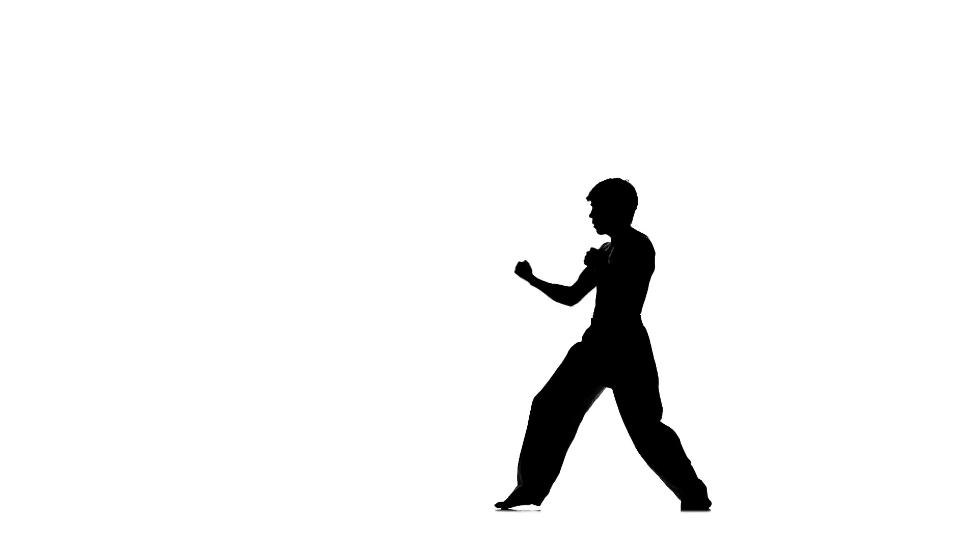 1920x1080 Young Boy Taekwondo Or Karate Over Pure White, Silhouette Stock