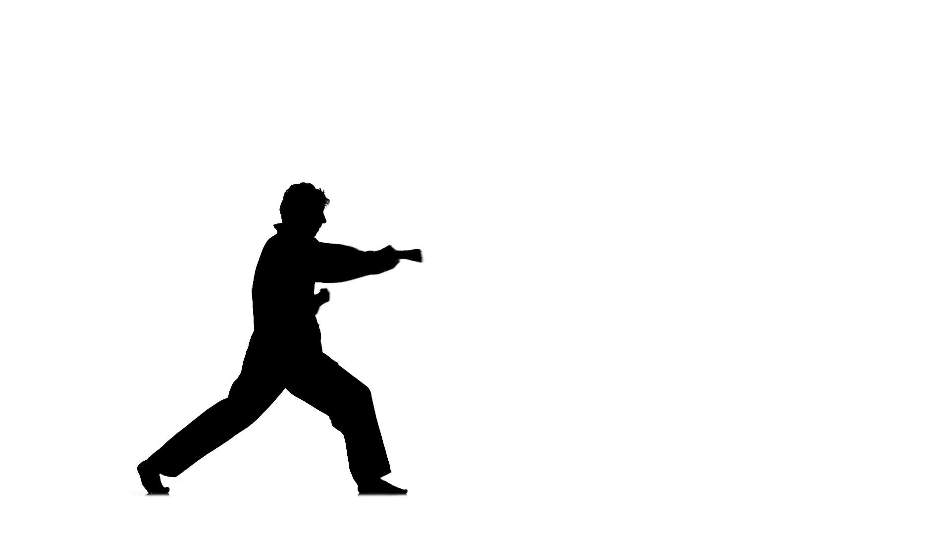 1920x1080 A Karate Or Taekwondo In A Black Kimono On A White Background
