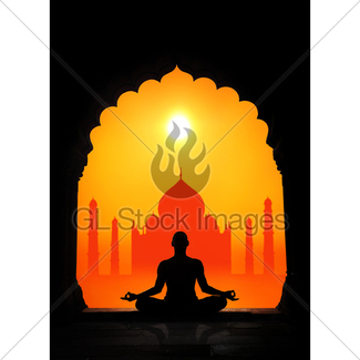 325x325 Yoga Silhouette In Temple Gl Stock Images