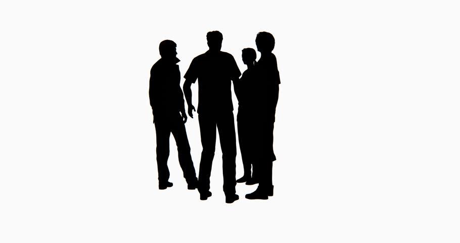 910x480 4k Business People Silhouette Talking. Cg 02751 4k Stock Footage