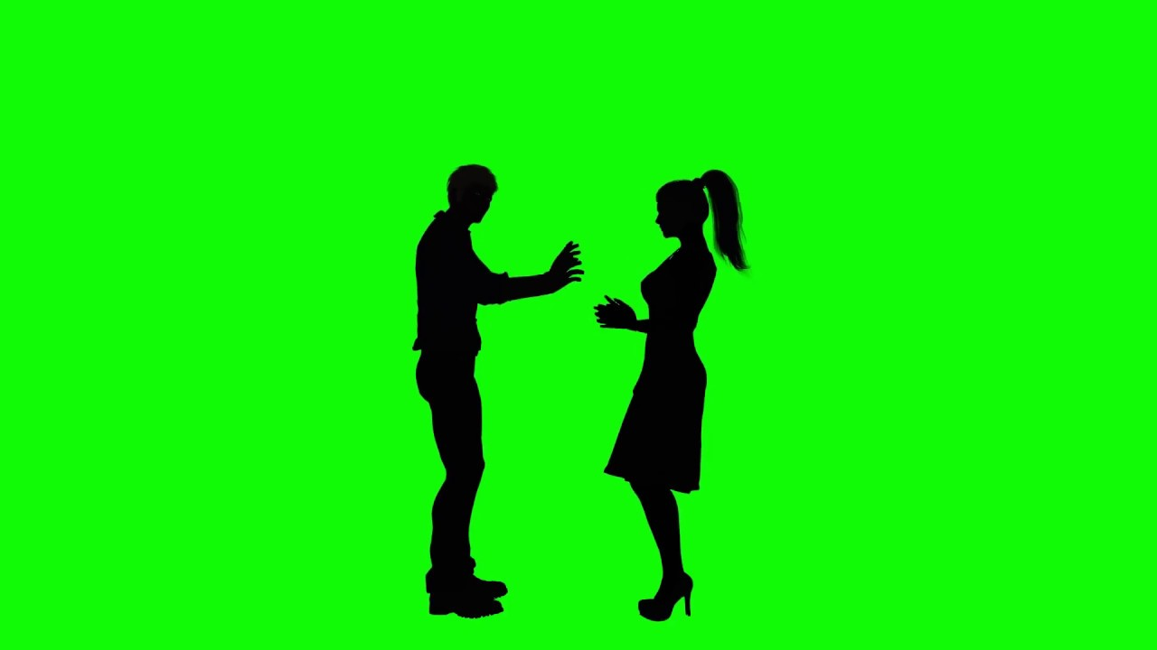 1280x720 Green Screen Man And Woman Arguing Talking Silhouette