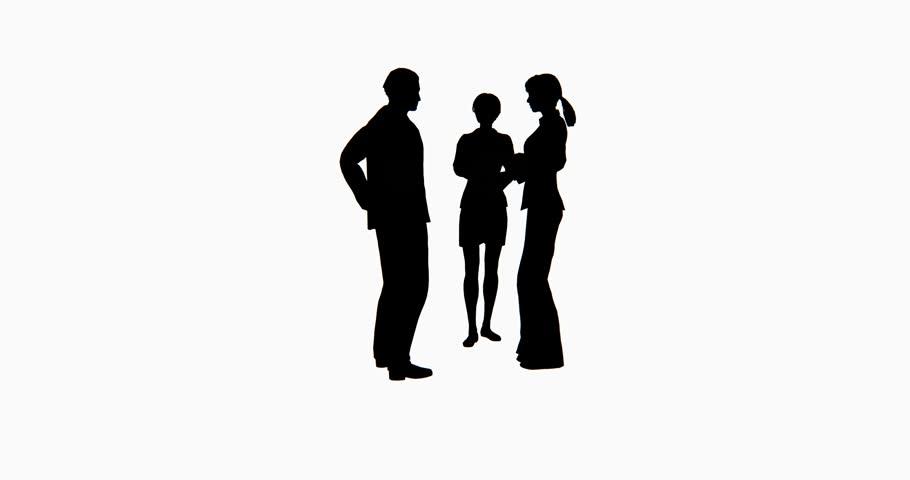 910x480 4k Business People Silhouette Talking. Cg 02758 4k Stock Footage