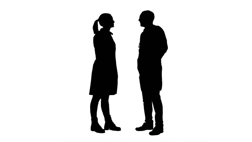 852x480 Silhouette Of Two Women Meeting And Talking, Full HD Footage With