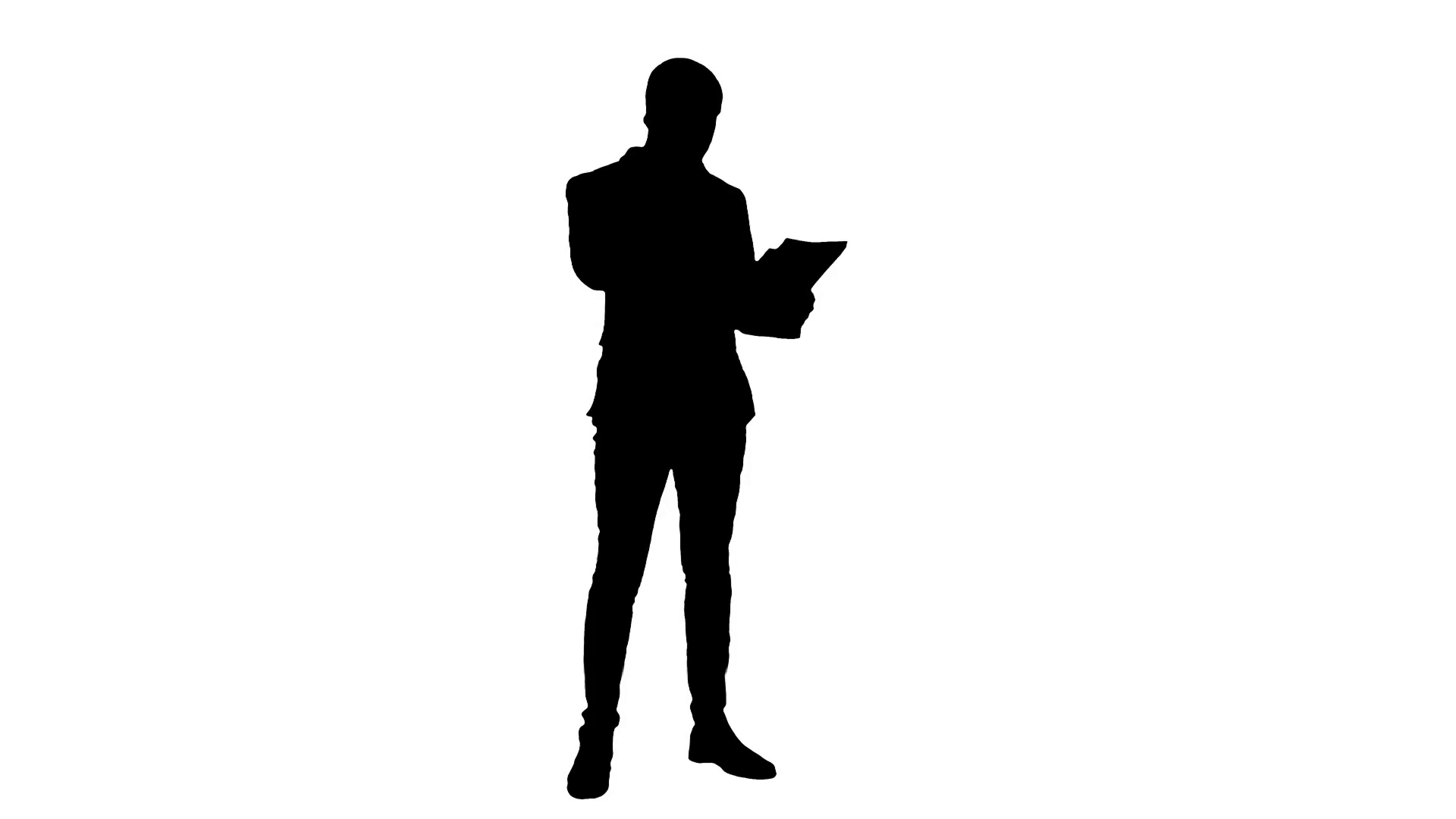 1920x1080 Silhouette Young businessman talking on cell phone and holding