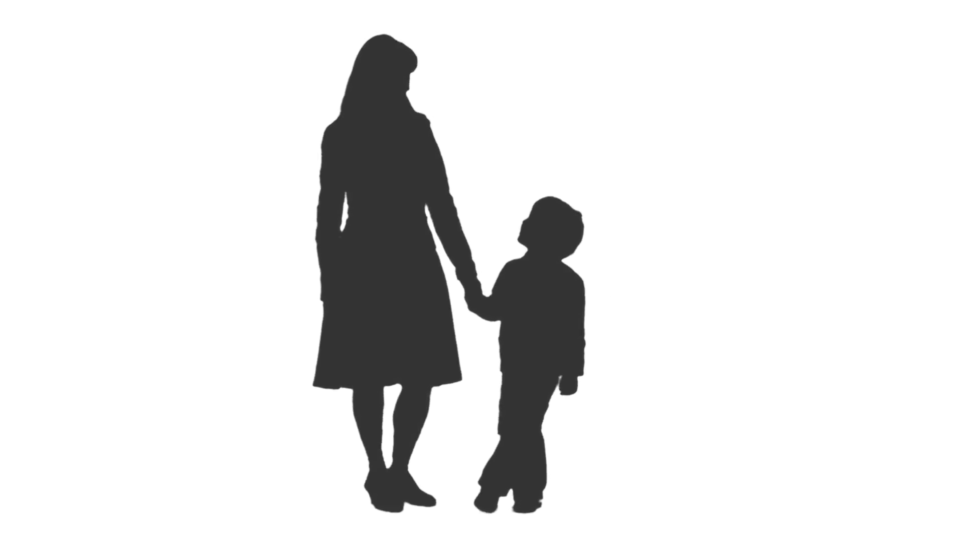 1920x1080 Silhouette of a woman standing and talking with her son. Front and