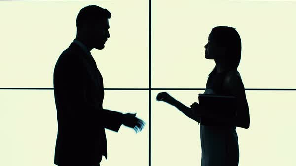 600x338 Silhouette of business man and woman shaking hands and talking