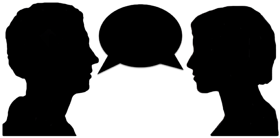 973x480 Two People Talking Silhouette Clipart