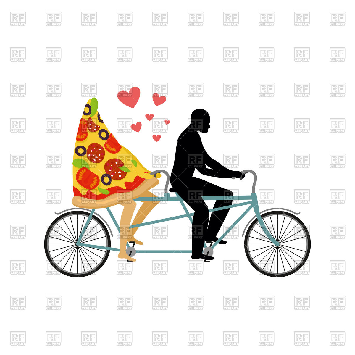 1200x1200 Pizza And Man On Tandem Royalty Free Vector Clip Art Image