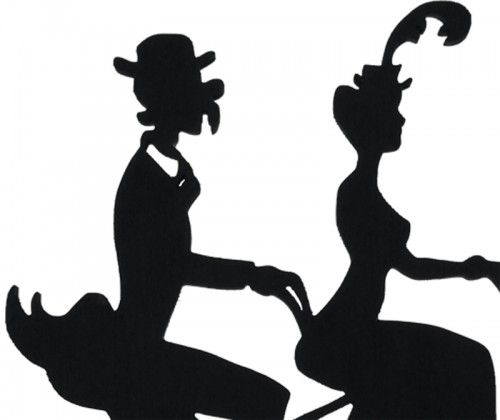 500x420 Victorian Silhouettes Victorian Tandem Bicycle Couple Decorative