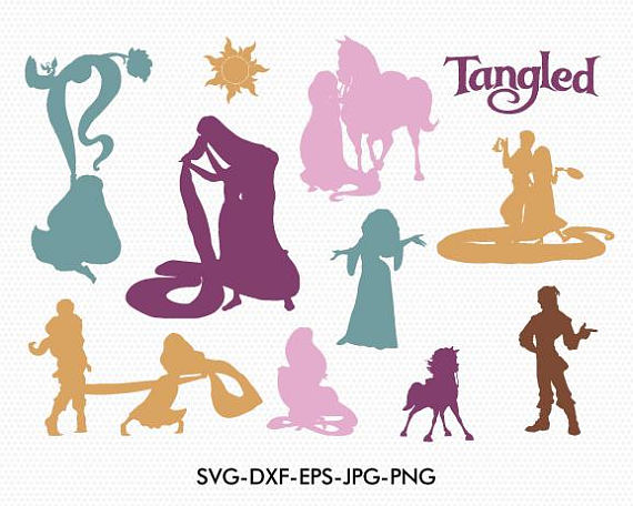 570x456 Tangled Silhouettes Svg Disney Tangled Silhouette Clipart Eps