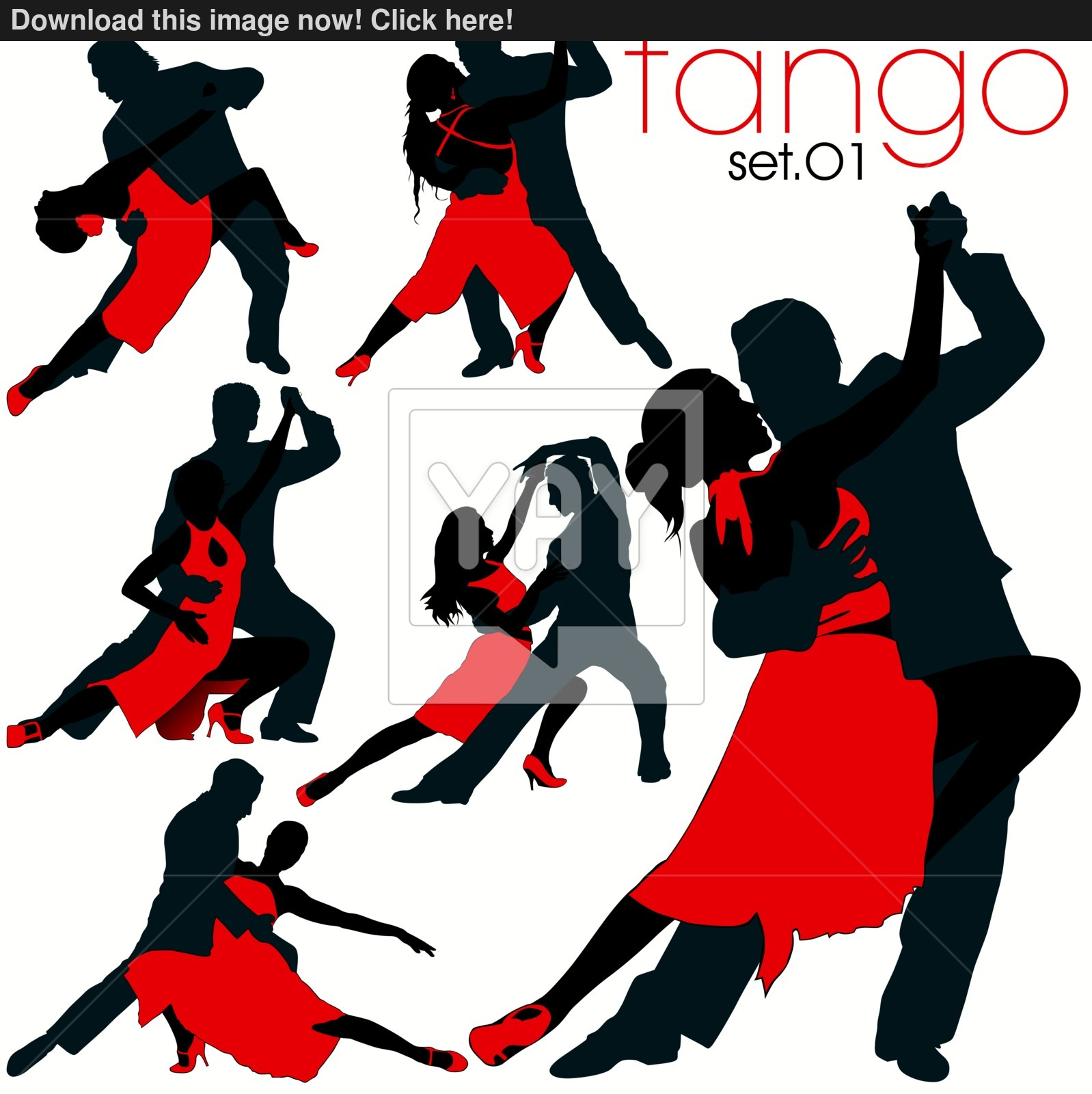 1598x1600 6 Tango Dancing Couples Silhouettes Set Vector