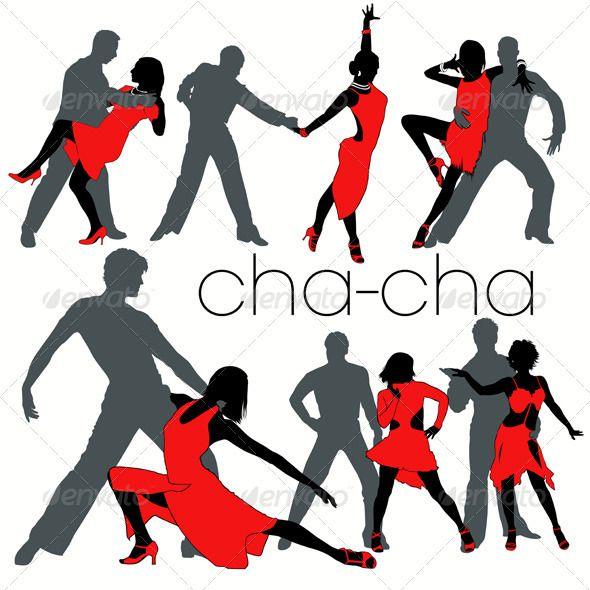590x590 Cha Cha Dancers Silhouettes Set Cha Cha, Dancer Silhouette