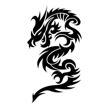 380x380 Classic Black Ink Dragon Silhouette Tattoo Design