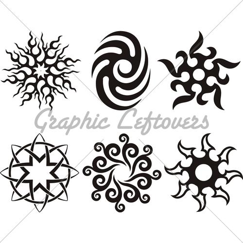 500x500 Symbolic Celtic Sun Tattoo Tribal Silhouette Tattooooos