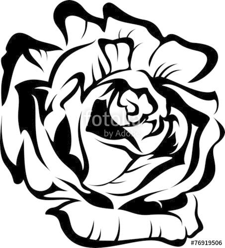 453x500 Black Silhouette Outline Rose. Vector Tattoo Illustration. Stock