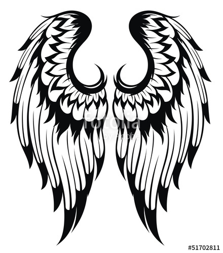 440x500 Black Wings Silhouette Tattoo Design Stock Image And Royalty