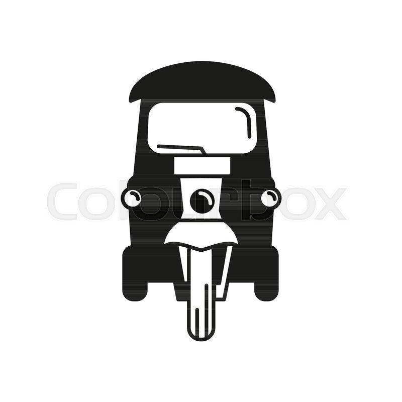 800x800 Taxi Silhouette Icon. Thailand Tuk Tuk Taxi Vector Illustration