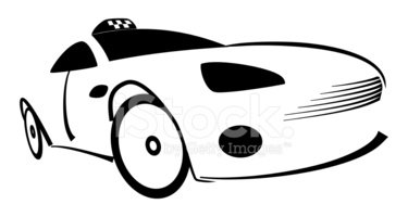 375x200 The Black Silhouette Of A Taxi Stock Vectors