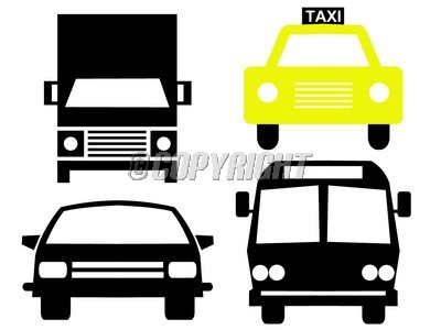 400x300 Vehicle Silhouettes Bus Truck Car And Taxi Scrapbook Junk Albums