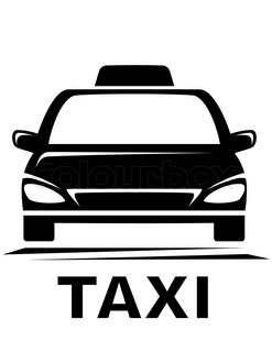247x320 Dark Cab Silhouette With Taxi Sign Stock Vector Colourbox