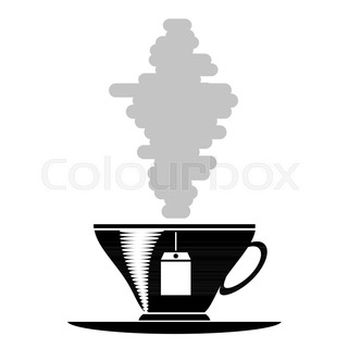 320x320 Silhouette Of Coffee Cup With Steam On White Stock Vector