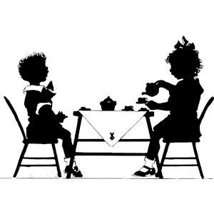 300x300 Tea Party Clipart Black And White