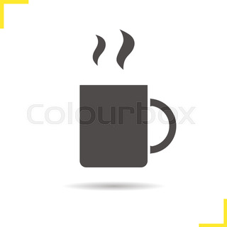 320x320 Teacup Icon. Drop Shadow Teacup With Teabag Silhouette Symbol. Hot