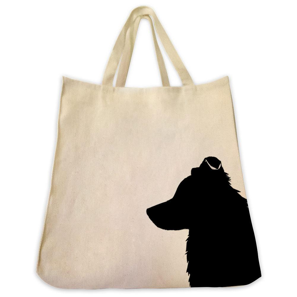 1001x1001 Border Collie Silhouette Extra Large Reusable Cotton Canvas Tote