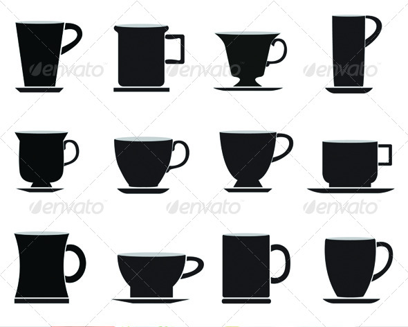 590x472 Cups Vector Silhouettes