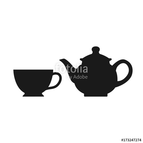 500x500 The Teapot And Cup Icon. Tea Symbol. Teapot And Cup Isolated