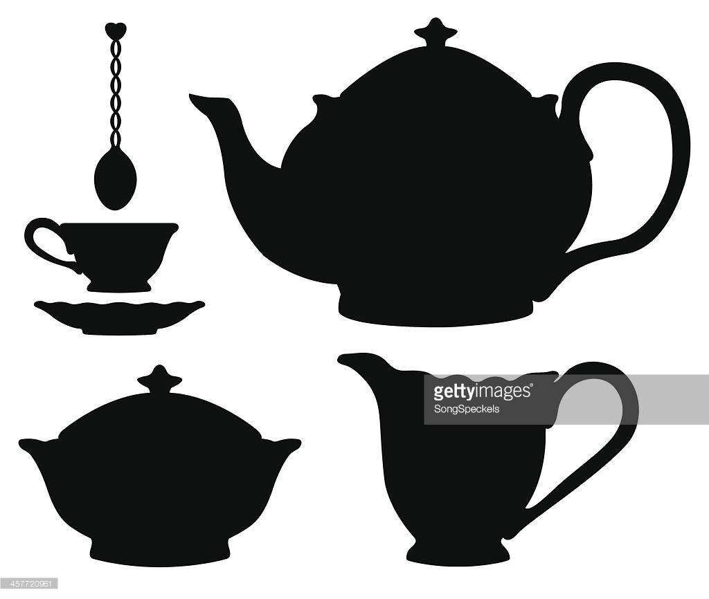 1024x866 Vector Art Tea Set Silhouettes Tea Set