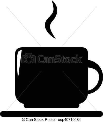 398x470 Vector Silhouette Of Coffee And Tea Cup Isolated On White
