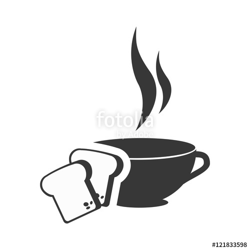500x500 Coffee Cup Hot Drink With Slices Of Bread Icon Silhouette. Vector