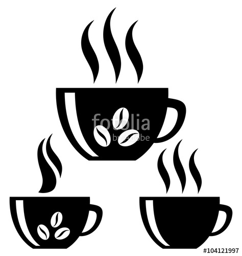 474x500 Coffee Cups. Silhouette. Isolated Stock Image And Royalty Free