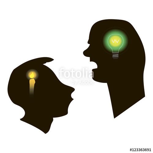 500x500 Black Silhouettes Of Two Men Talking. White Background. Teacher