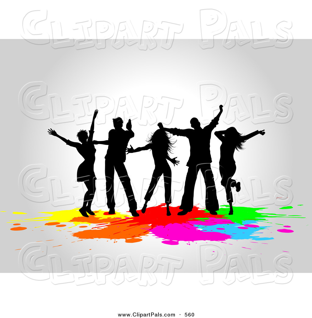 1024x1044 Pal Clipart Of A Silhouetted Club Dancers Partying Over Colorful