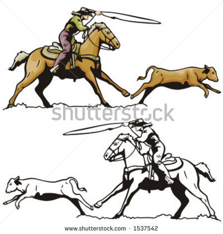 449x470 Calf Roping Clipart