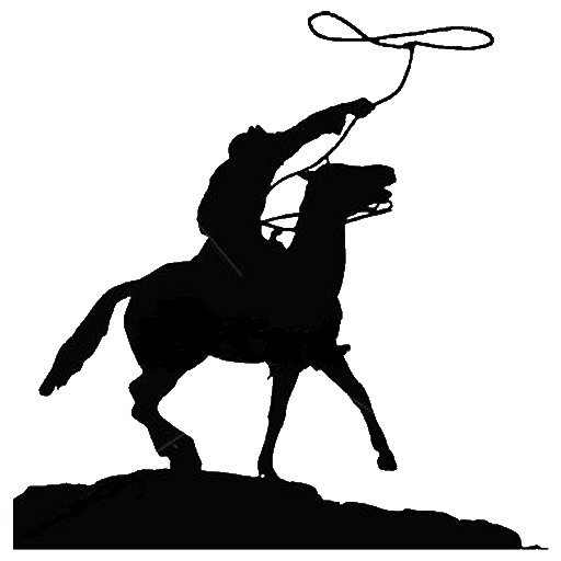 512x512 Roping Horse Silhouette. Free Cowboy Silhouette Clip Art