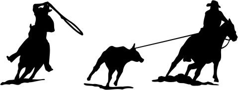 479x182 Rodeo Team Roping Silhouette Decal 8n X 3 Rodeo Pic