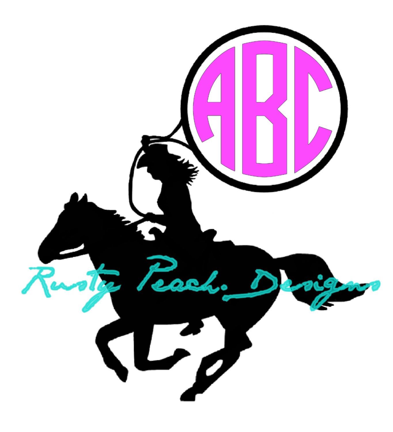 1364x1500 Roping Cowgirl Vinyl Decal, Your Choice Of Color, Monogram, Rodeo