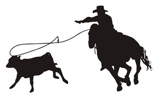 320x200 Calf Roping Silhouette V3 Decal Sticker
