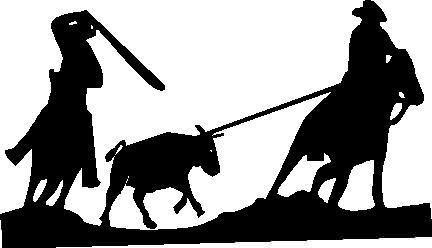 432x248 Team Roping Silhouette Clipart