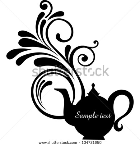 450x470 Teapot With Floral Design Elements.teapot Silhouette Isolated