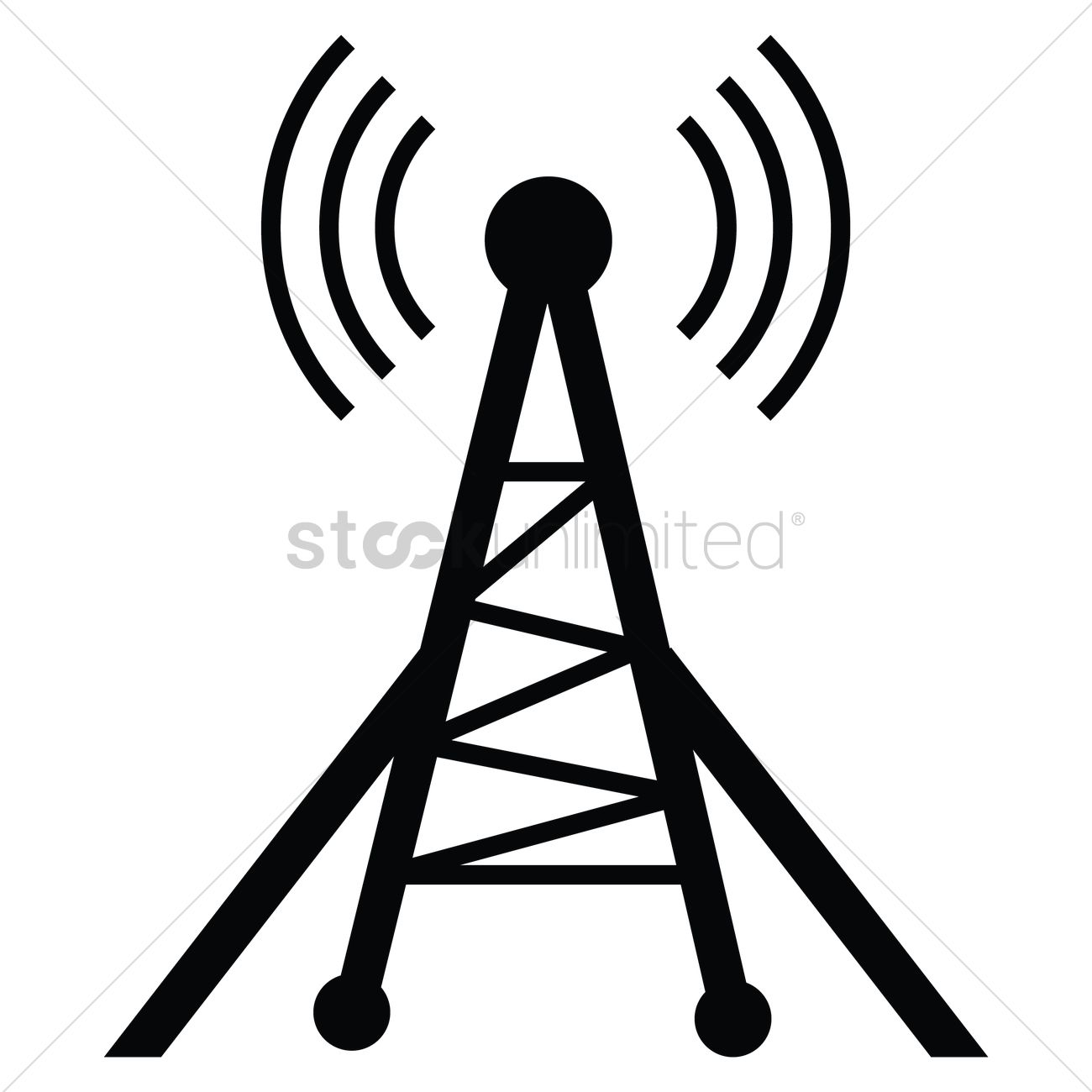 1300x1300 Silhouette Of Radio Tower Vector Image