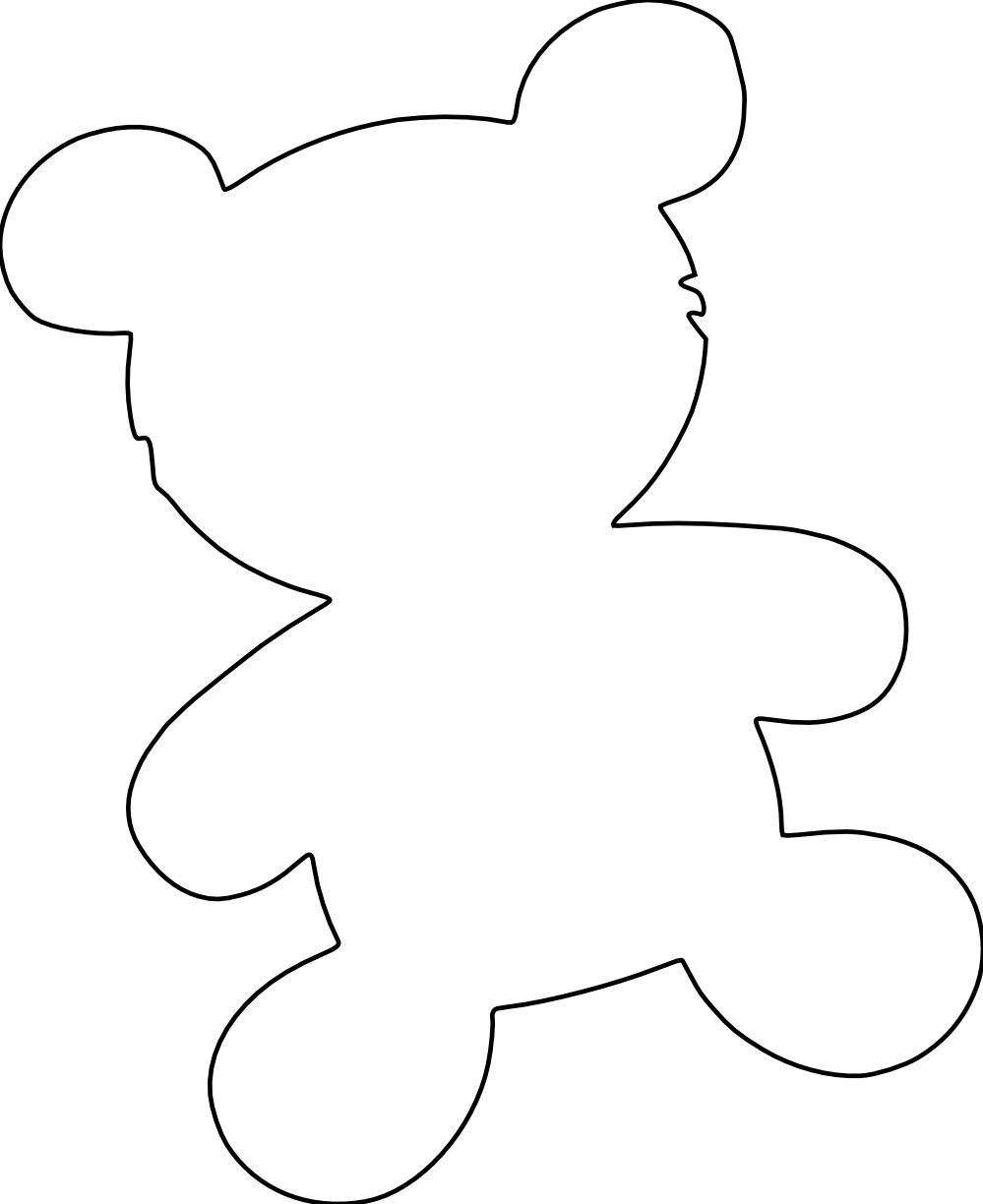 999x1224 Clip Art Bear Silhouette Black White Line Teddy