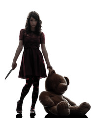 187x240 Strange Young Woman Killing Her Teddy Bear Silhouette
